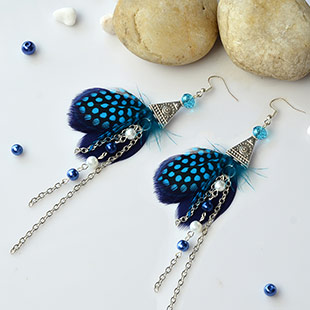 Feather and Glass Pearl Bead Dangle Earrings