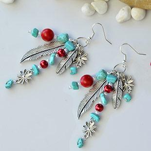 Feather Tibetan Style Pendants Earrings