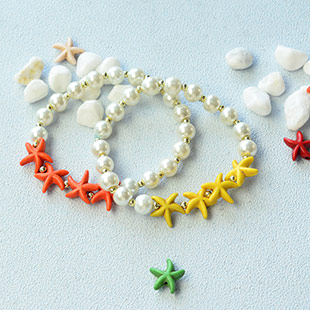 Starfish Turquoise Bead Bracelet with Glass Pearl Beads