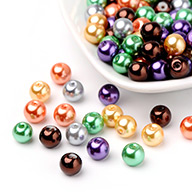Halloween perline perla mix di vetro perlato, colore misto, 8mm, foro: 1mm; circa 100pcs/scatola