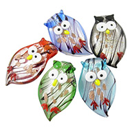 Handmade Silver Foil Glass Pendants for Halloween, with Gold Sand, Owl, Mixed Color, about 30~32mm wide, 49~53mm long, 7.5mm thick, hole: 6.5mm
