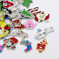 Alloy Enamel Pendants, for Christmas Day, Mixed Shape, Mixed Color, 22~50x11.5~36x1.5~2mm, Hole: 2~4mm