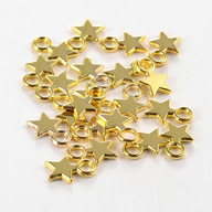 Tibetan Style Blank Stamping Tag Charms Pendants, Christmas Star, Lead Free, Golden, 10x8x1mm, Hole: 2mm