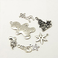 Tibetan Style Pendants, for Christmas Day, Mixed Shape, Antique Silver, 10.5~67x16~79x1~12mm, Hole: 1~3.5mm