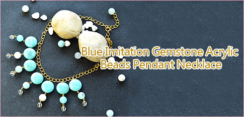 Blue Imitation Gemstone Acrylic Beads Pendant Necklace