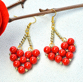 Heart-shaped Glass Beads Earrings