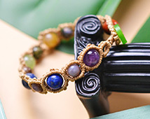 2080 Assorted Gem Braided Bracelet