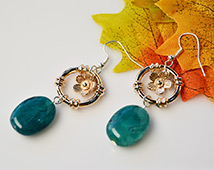777 Vintage Style Dangling Earrings With Acrylic Gemstone Beads