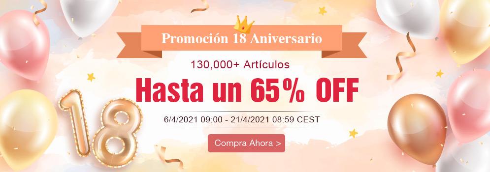 Promoción 18 Aniversario 130,000+ Artículos Hasta un 65% OFF